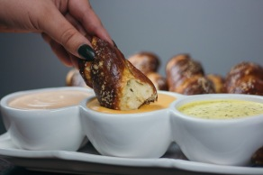 Soft Pretzels with a Trio of Dipping Sauces