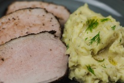 Spice Rubbed Pork Tenderloin with Peppercorn Gravy and Creamy Whipped Mashed Potatoes