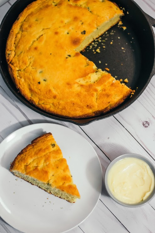 Roasted Poblano Skillet Cornbread with Whipped Honey Butter