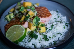 Grilled Salmon with Avocado Mango Salsa and Cilantro Lime Rice