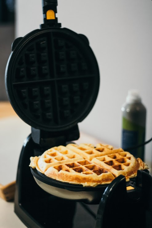 Overnight Yeast Waffles with Whipped Blueberry Orange Butter